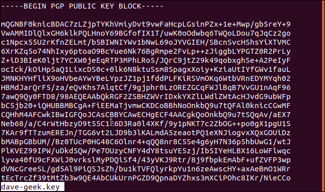 public key file in less in a terminal window