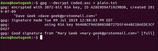 gpg --decrypt coded.asc > plain.txt in a terminal window