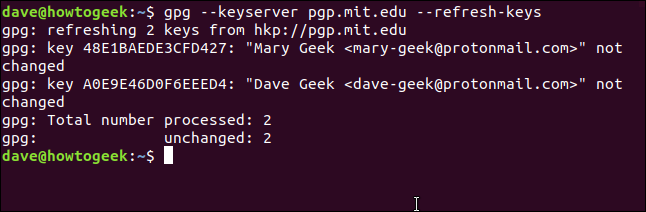 gpg key refreshes in a terminal window