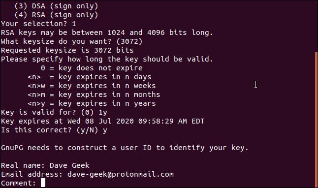 key generation questions in a terminal window