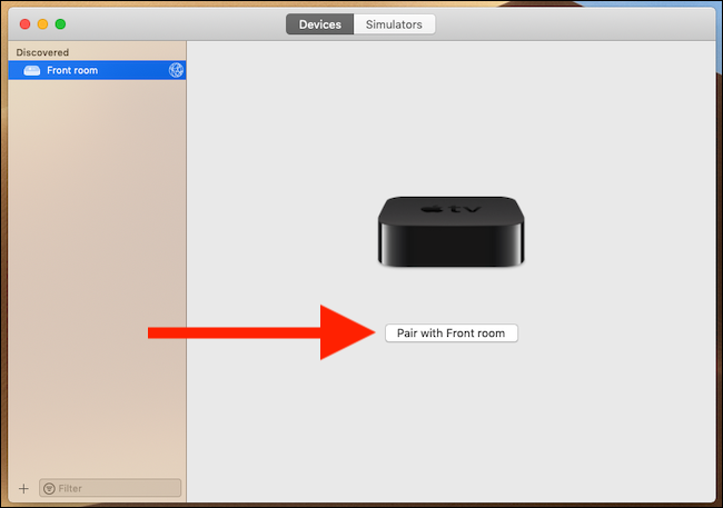 Haga clic en emparejar con Apple TV