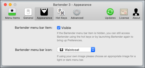 """The options in the Bartender """"Appearance"""" tab."""