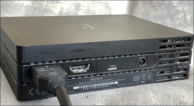 HDMI cable inserted into the HDMI TV port on the Processor Unit.
