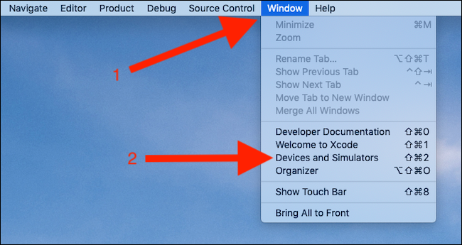 Click Window. Click Devices and Simulators
