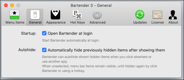 """Options in the Bartender """"General"""" tab."""