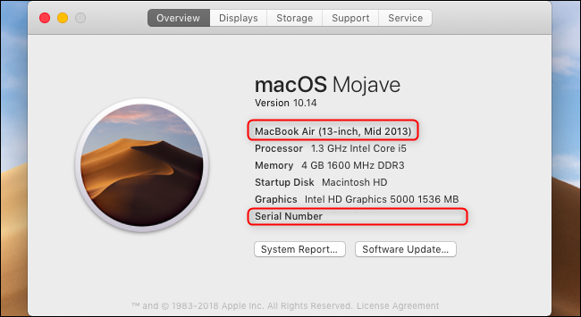 MacBook model number and serial number displayed in the About This Mac window.