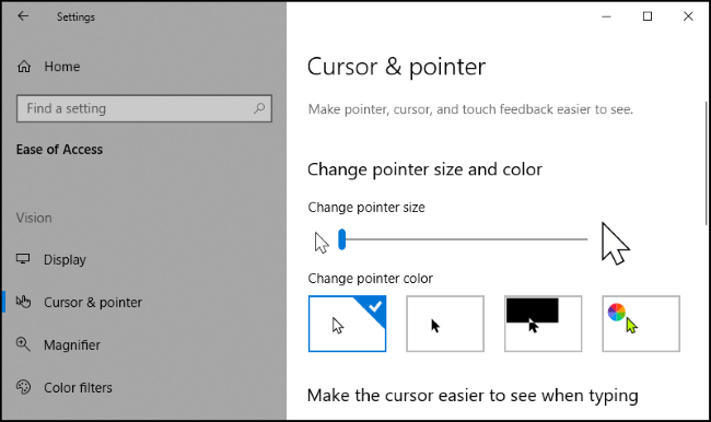 "The ""Cursor and Pointer"" menu in the Windows 10 Settings app."