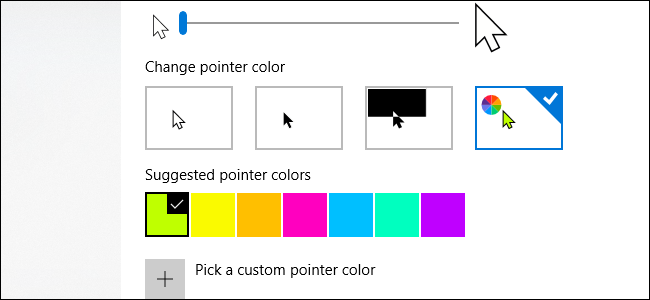 Windows 10 mouse pointer size and color options.
