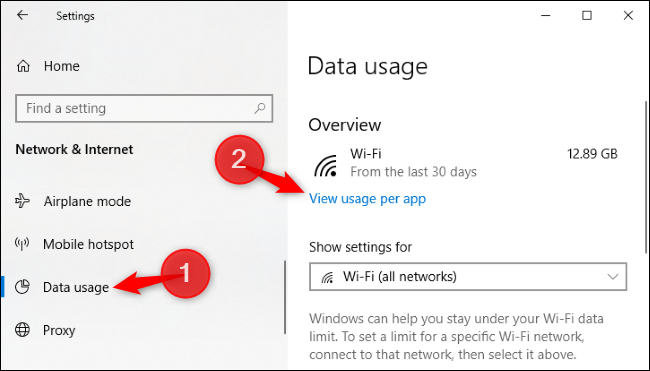 Option to view data usage per app in Windows 10's Settings