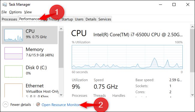 Button to open Resource Monitor in the Task Manager