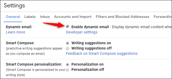 Option to disable or enable dynamic email in Gmail
