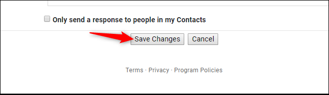 Save Changes button in Gmail settings on the web
