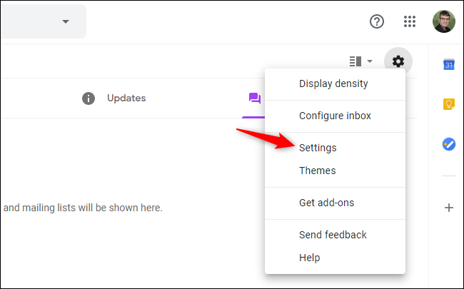 Option to open Gmail's Settings on the web.