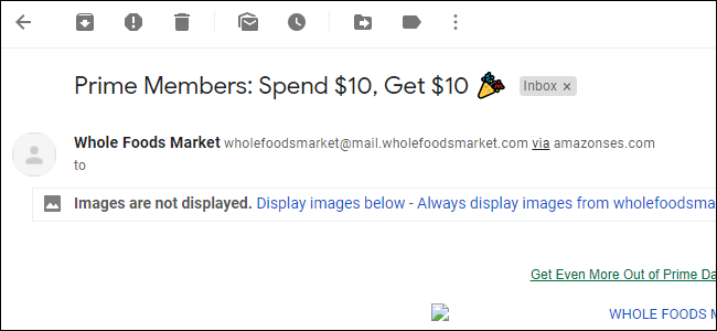 Option to load images for an individual email in Gmail