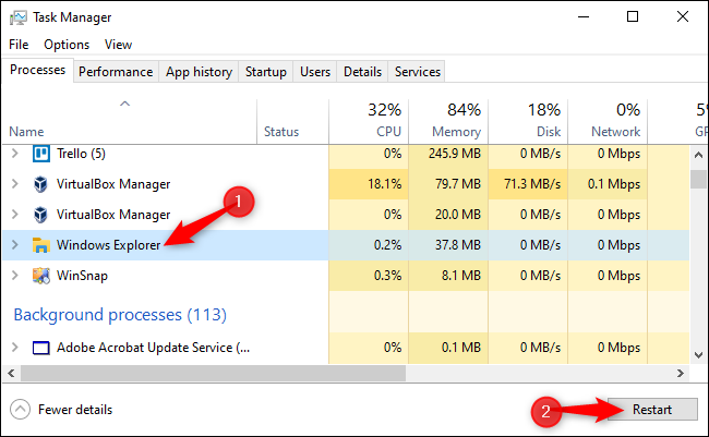 """Click """"Windows Explorer"""" in the list of Processes, and then click the """"Restart"""" button."""