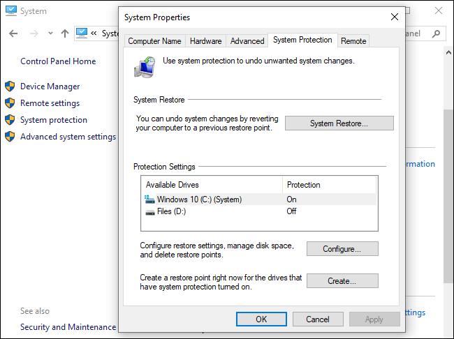 System Restore options on Windows 10.