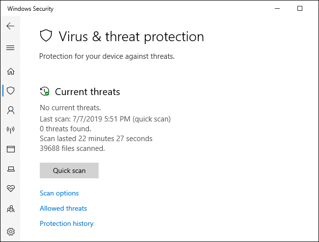 Windows Defender antivirus scan menu.