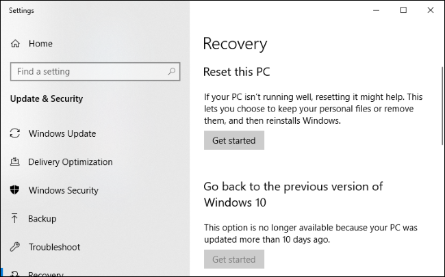 Windows 10 Recovery menu.