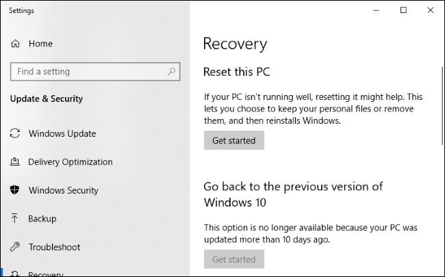 Windows 10 Recovery menu.