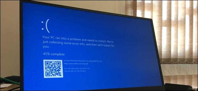 Windows 10 PC showing a blue screen error.