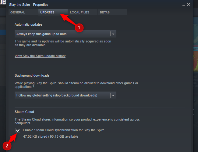 """Click """"Updates"""" tab and check the """"Enable Steam Cloud synchronization for"""" option."""
