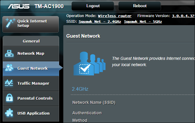 Guest Network option on an Asus router