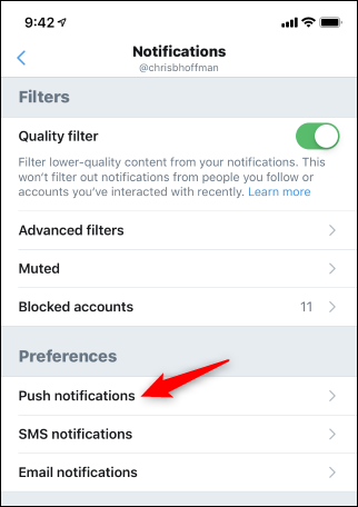 Opening Twitter push notification options on mobile
