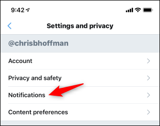 Opening Twitter notification options in the mobile app
