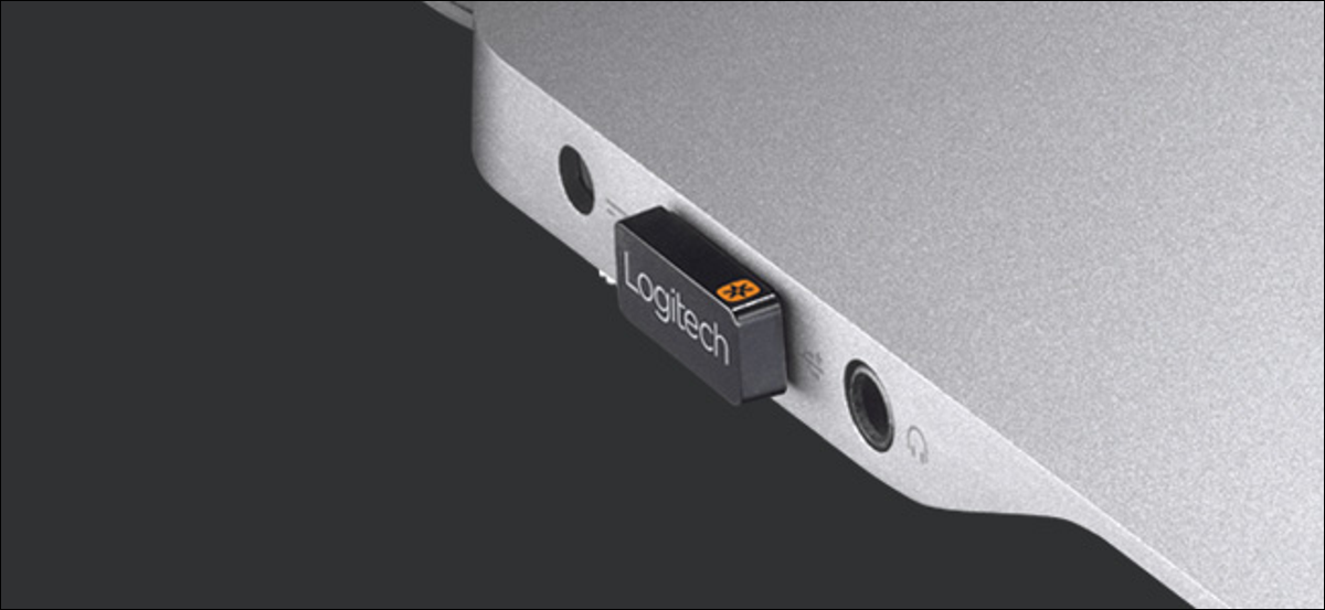 Logitech Unifying Receiver plugged into a laptop