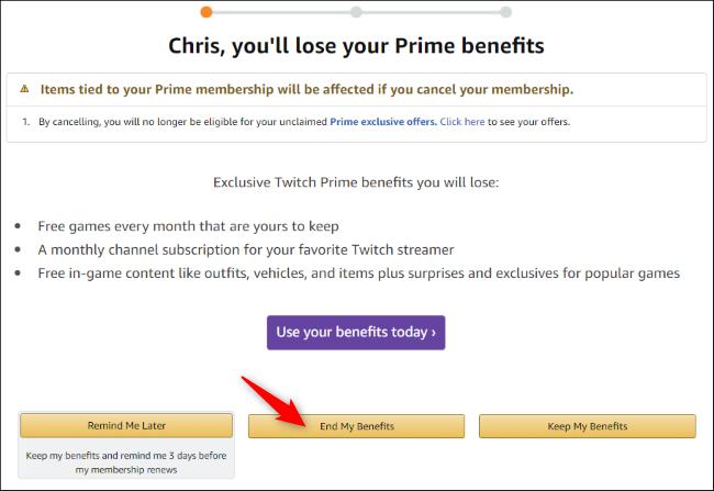 Amazon's Prime cancellation wizard