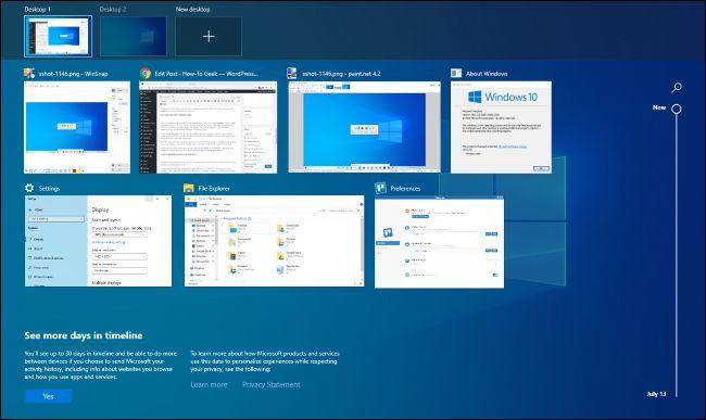 Task View interface on Windows 10.