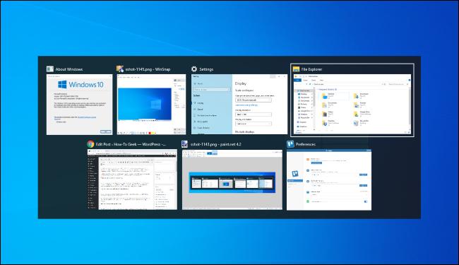 Cambiar entre ventanas con Alt + Tab en Windows 10.