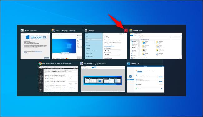 Haga clic en la X roja para cerrar una ventana en el conmutador Alt + Tab de Windows 10.