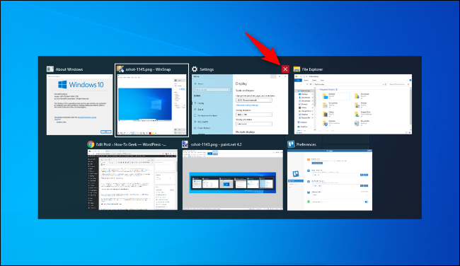 Click the red X to close a window in Windows 10's Alt+Tab switcher.