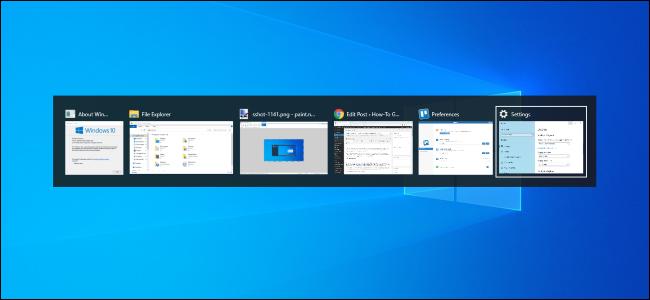 Conmutador Alt + Tab en el escritorio de Windows 10.