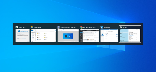 Alt+Tab switcher on a Windows 10's desktop.