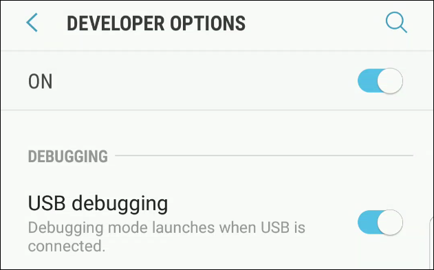 Enabling USB debugging on Android