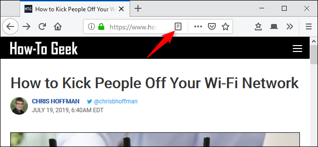 """Click the """"Toggle Reader View"""" button."""