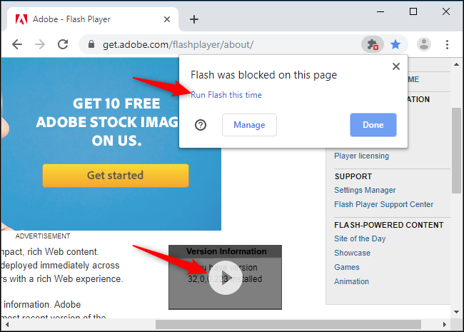 "Click the Play button to run an individual Flash object, and click ""Run Flash this time"" to load all Flash content."