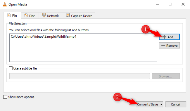 """Click """"Add,"""" open the file you want to convert, and then click """"Convert/Save."""""""