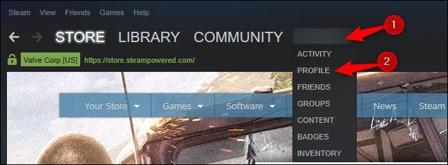 Opening your profile in Steam