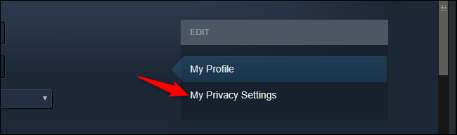 Opening profile privacy settings in Steam