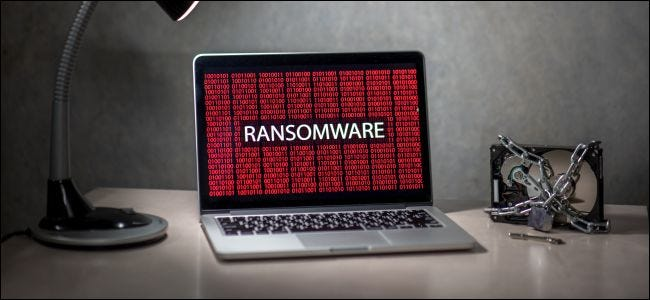 Ransomware on a laptop with a locked hard drive.