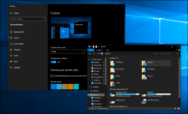 Dark mode in Windows 10's Settings and File Explorer applications