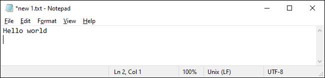 Notepad on Windows 10