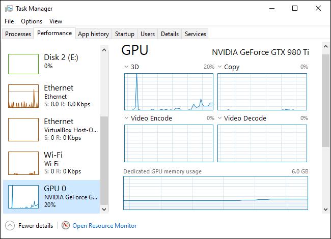 GPU usage statistics in Windows 10's Task Manager