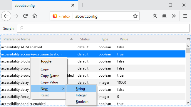 Adding a new String preference in Firefox's about:config