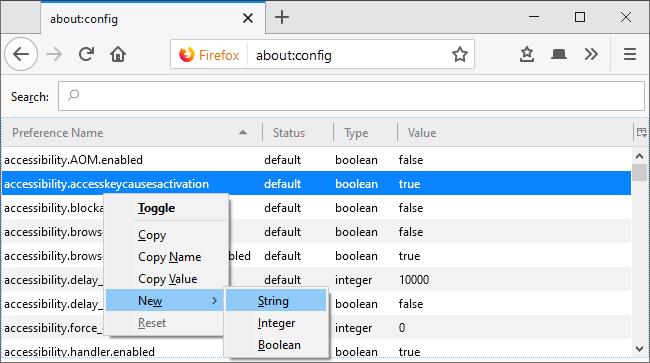 Añadiendo una nueva preferencia de cadena en acerca de: config de Firefox