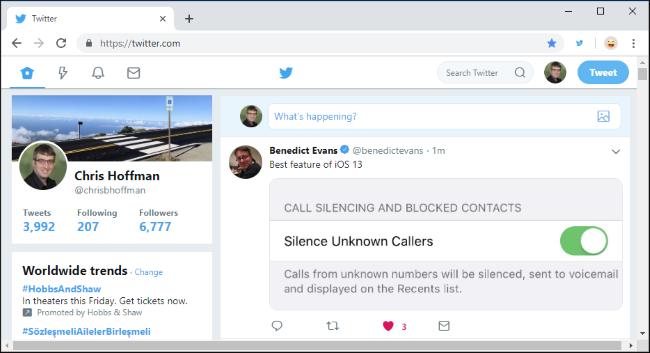 Old Twitter website in Google Chrome