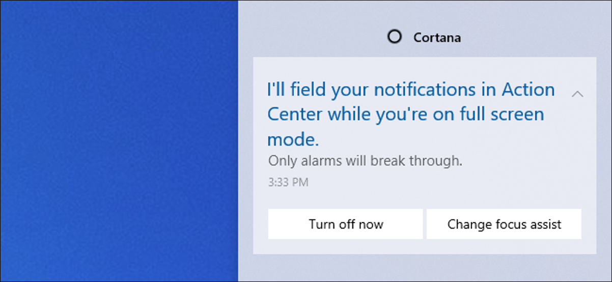 Cortana Focus Assist message in Action Center